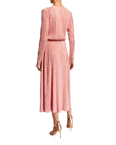 Number 7 Pleated Long-Sleeve Metallic Cocktail Dress