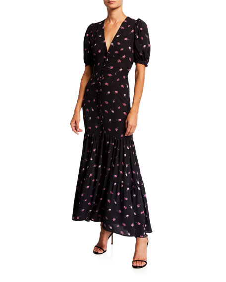 Number 20 Printed Button-Front Long Dress