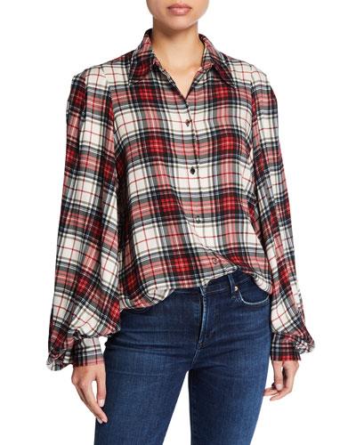 Hana Blouson-Sleeve Plaid Shirt