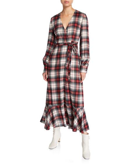 Salal Plaid Flounce Wrap Dress