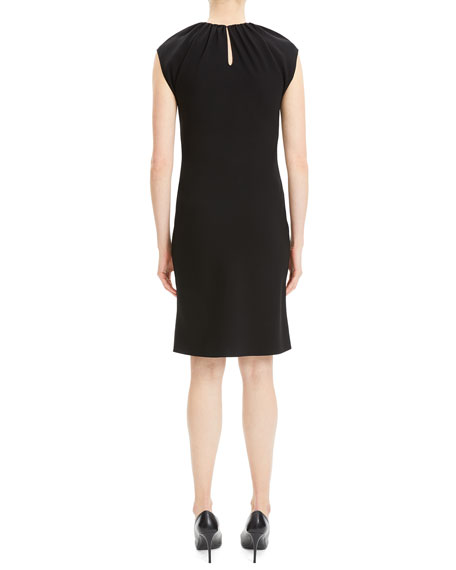 Shirred-Neck Sleeveless Crepe Cocktail Dress