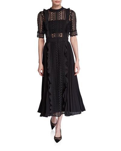 Geometric Lace Pleated Midi Dress with Belt