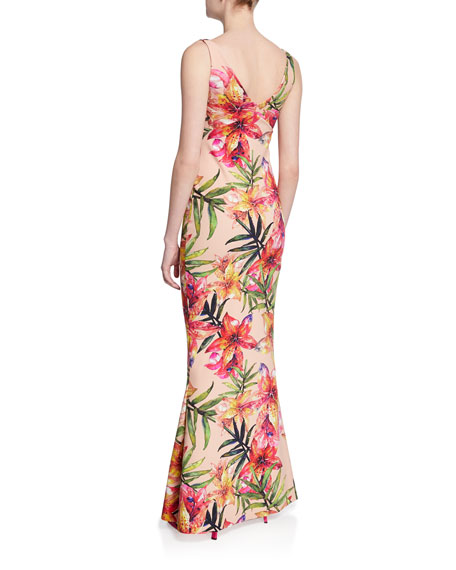 Manisha Print V-Neck Sleeveless Gown with Slit