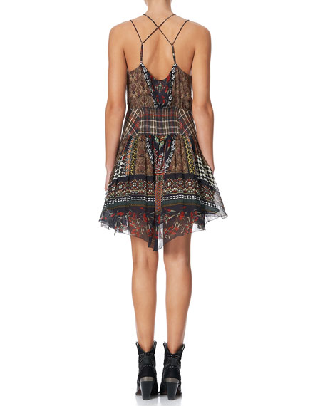 Strappy Printed Dress with Shaped Waistband