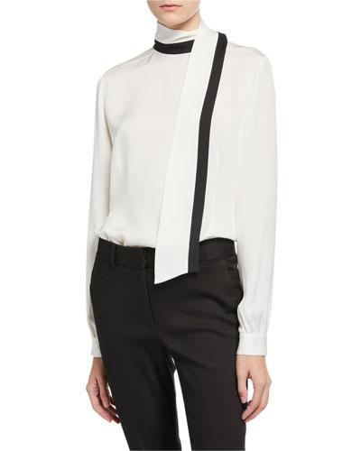 Button-Back Silk Scarf Blouse