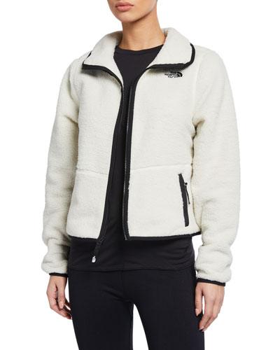 Dunraven Zip Front Sherpa Fleece Crop Jacket