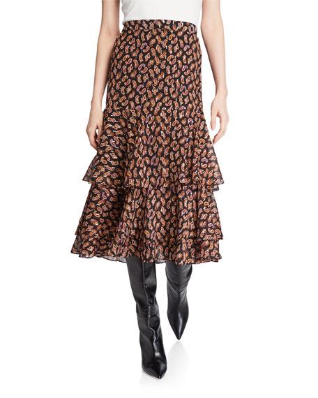 Meg Paisley Print Tiered Flounce Skirt by Diane Von Furstenberg