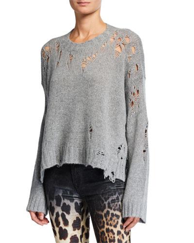 Shredded Side-Slit Cashmere Sweater