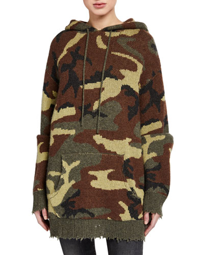 Camo-Print Hooded Pullover Sweater