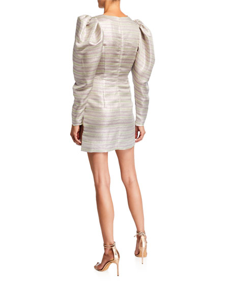 Number 24 Puff-Sleeve Striped Metallic Cocktail Dress