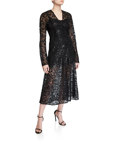 #21 Sequined Lace Long-Sleeve Cocktail Dress