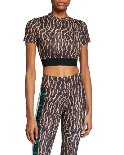 Leopard Short-Sleeve Crop Top