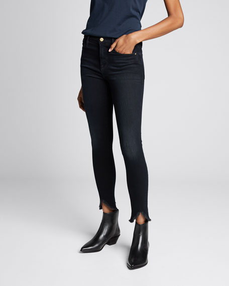 Le High Skinny Jeans w/ Triangle Raw Hem