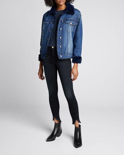 Le High Skinny Jeans w/ Triangle Raw Hem