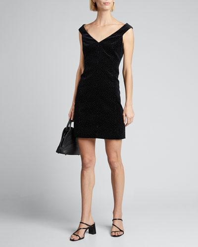 Dot Velvet Paneled Off-Shoulder Dress