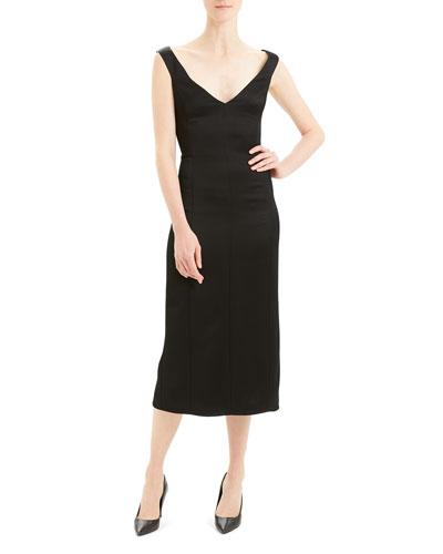 Paneled Off-Shoulder Midi Dress