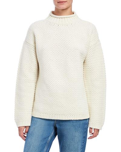 Basket Stitch Turtleneck Pullover Sweater