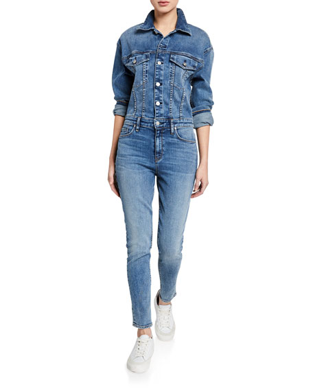 Denim Fitted Long-Sleeve Jumpsuit