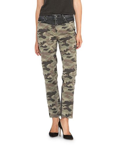 Barbara Camo High-Rise Straight Leg Jeans