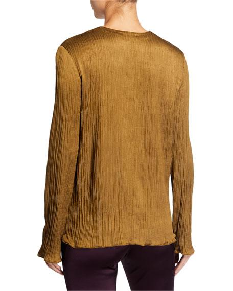 Hammered Crepe V-Neck Shirt