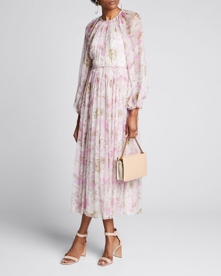 Super Eight Floral Long-Sleeve Dress w/ Braided Trim