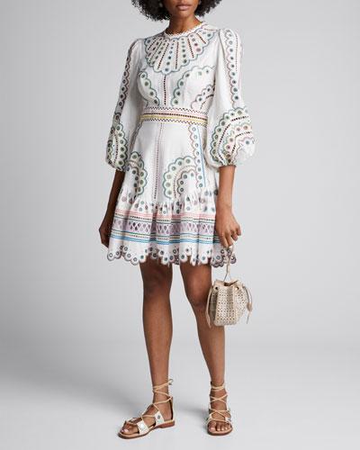Peggy Short Embroidered Linen Dress