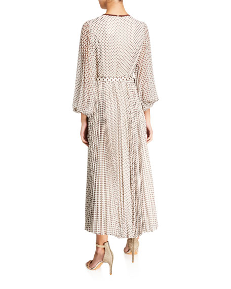 Sunray Dot-Print Pleated Maxi Dress w/ Belt