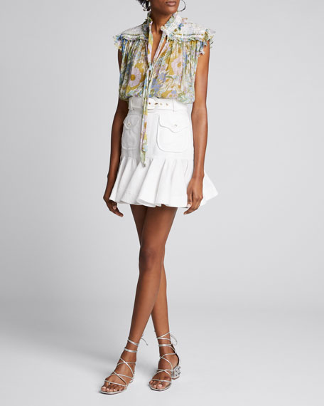 Super Eight Smocked Floral Tank by Zimmermann