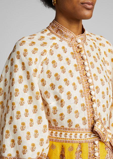 Bonita Buttoned Blouson-Sleeve Dress