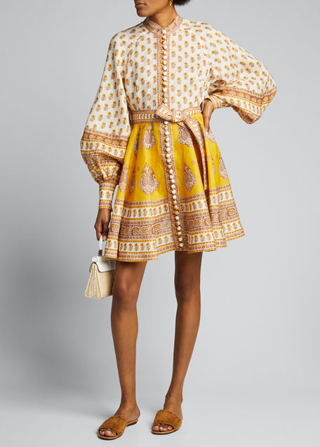 Image 1 of 1: Bonita Buttoned Blouson-Sleeve Dress