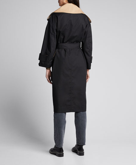 Two-Tone Cotton Belted Trench Coat