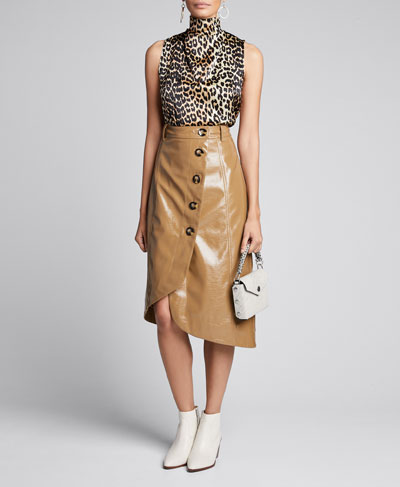 Patent Faux-Leather Asymmetric Button-Front Skirt