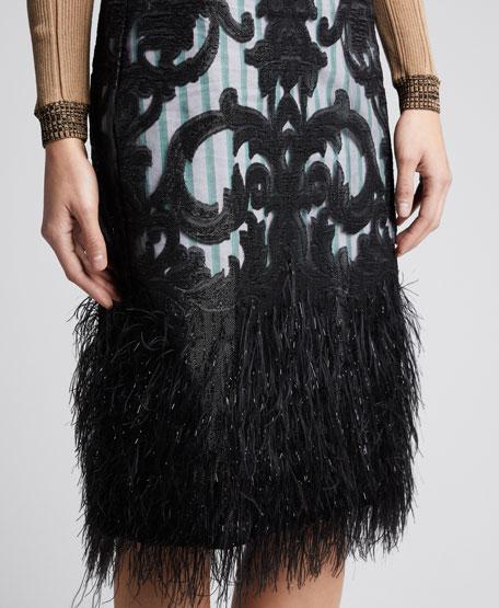 High-Rise Poplin Skirt with Feathery Mesh Overlay