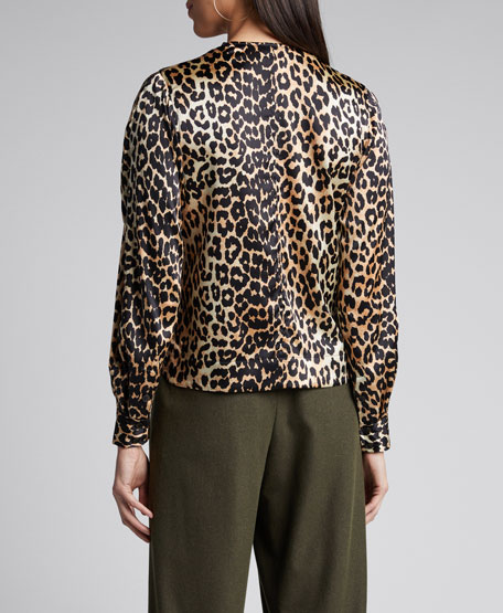Stretch Satin Leopard-Print Bow Blouse