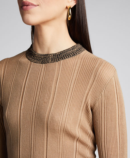 Ribbed Crewneck Pullover Sweater
