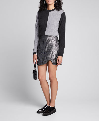 Metallic Jacquard Asymmetrical Skirt
