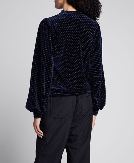 Velvet Metallic Blouson-Sleeve Sweater