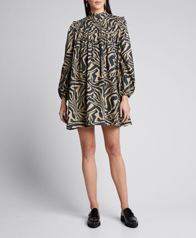 Printed Poplin Long-Sleeve Pintuck Dress