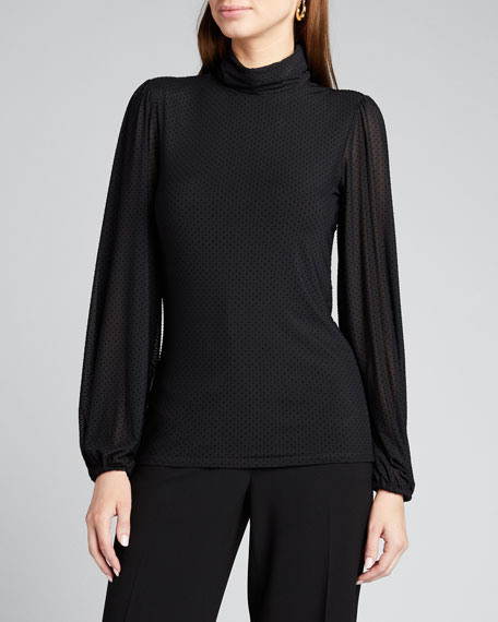 Dotted Mesh Turtleneck Long-Sleeve Blouse