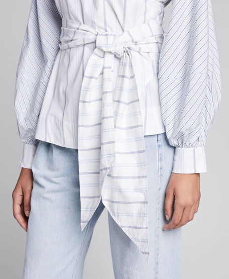 Striped Shirting Long-Sleeve Wrap Blouse