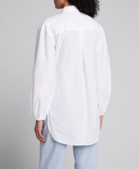 Poplin Long-Sleeve Wrap Blouse