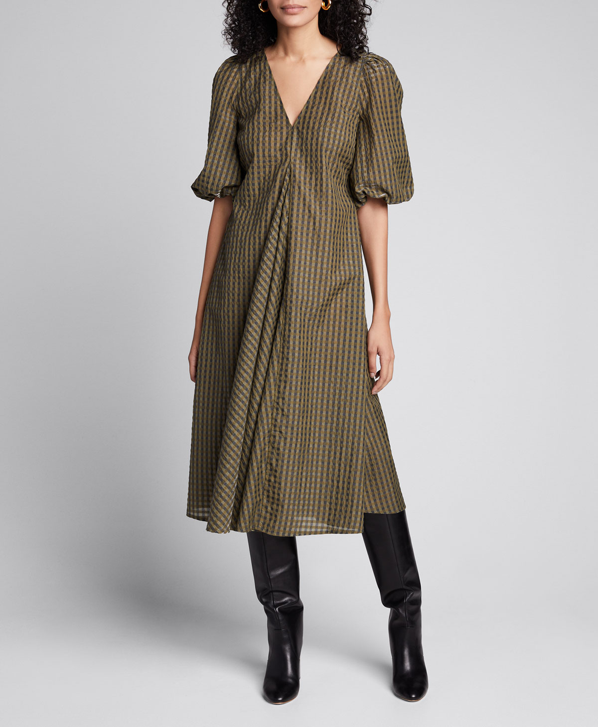 Ganni Seersucker Check Puff Sleeve Midi Dress Bergdorf Goodman