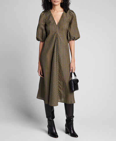 Seersucker Check Puff-Sleeve Midi Dress