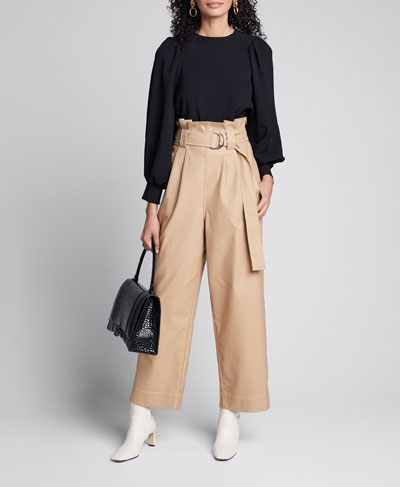 Belted Paperbag Chino Pants