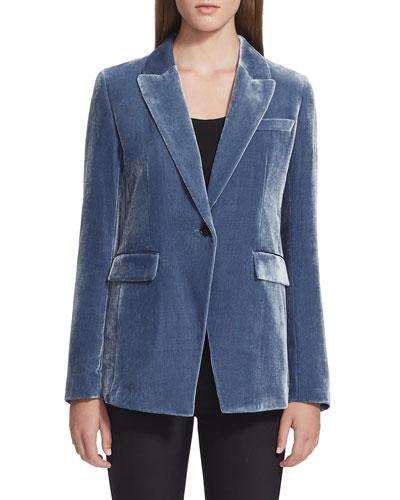 Heather One-Button Velvet Jacket
