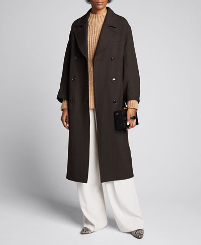 Double-Breasted Check Long Coat