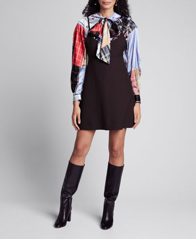 Check Suiting Scoop-Neck Mini Dress