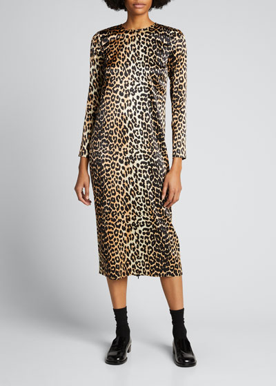 Stretch Satin Leopard-Print Wrap Dress