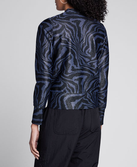 Metallic Jersey Printed Cardigan
