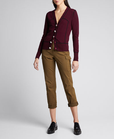 Piped Cashmere Cardigan